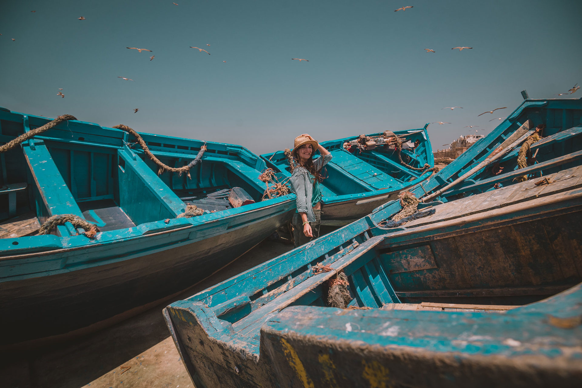 Essaouira et ses beaux bateaux bleus