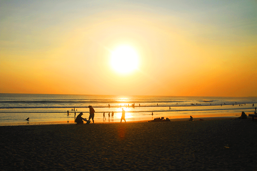 coucher soleil à Kuta
