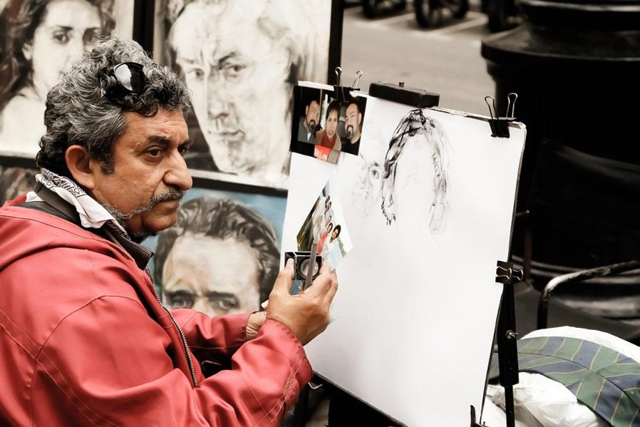 Artiste, Rambla, Barcelone